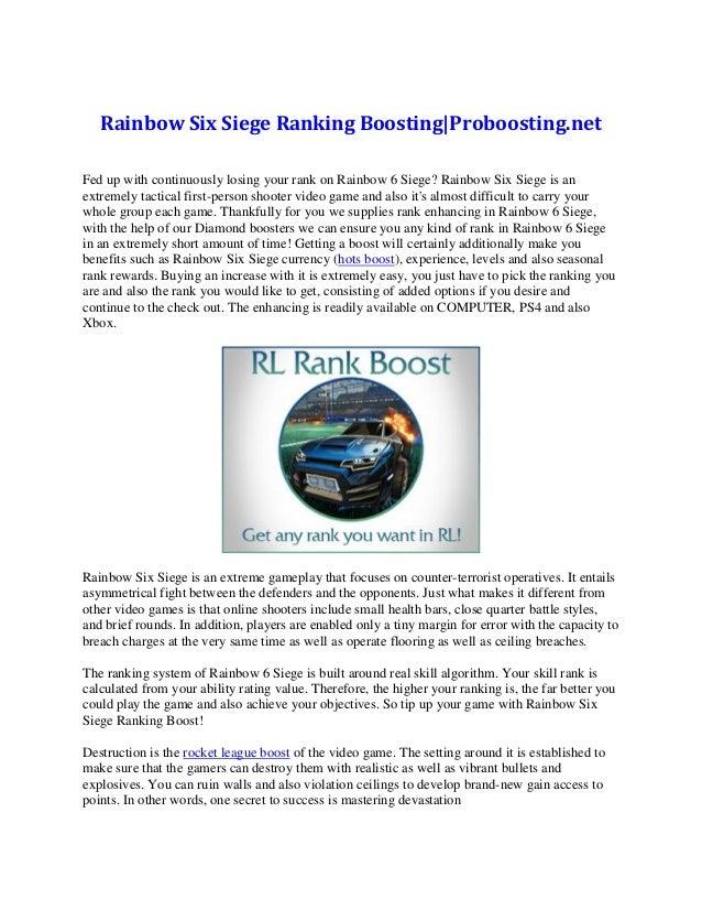 Rainbow six siege ranking boosting