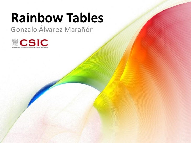 Rainbow Tables Gonzalo Álvarez Marañón