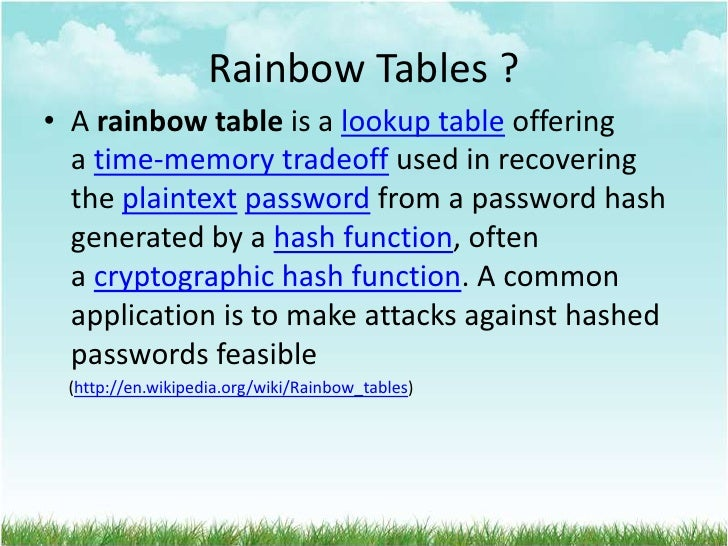 Rainbow Tables