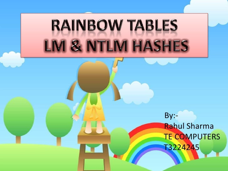 RAINBOW TABLES<br /> LM & NTLM HASHES<br />     By:-Rahul Sharma   TE COMPUTERS    T3224245<br />