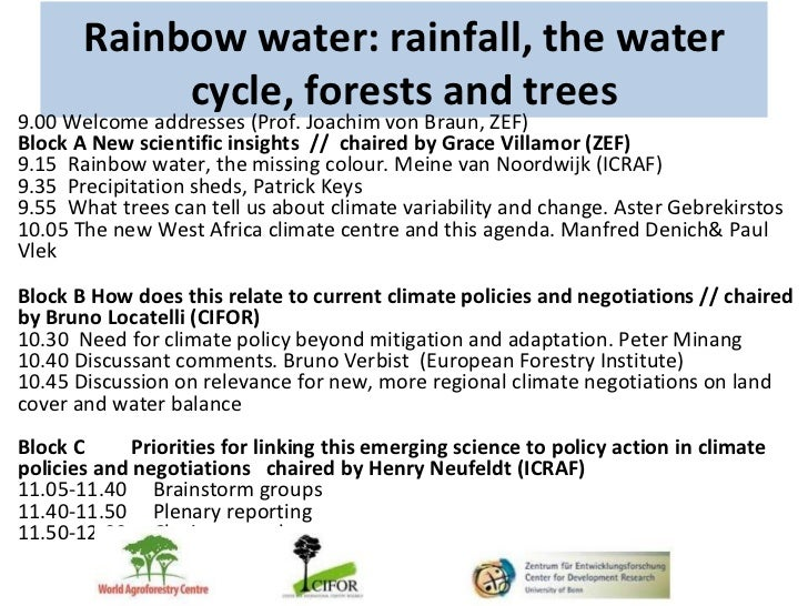 Rainbow water: rainfall, the water            cycle, forests and trees9.00 Welcome addresses (Prof. Joachim von Braun, ZEF...