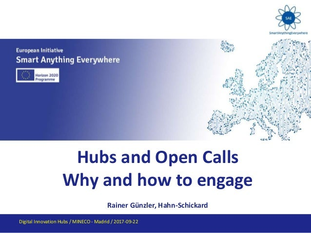 Hubs and Open Calls Why and how to engage Rainer Günzler, Hahn-Schickard Digital Innovation Hubs / MINECO - Madrid / 2017-...
