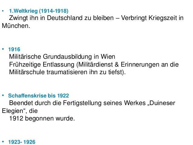 • 1.Weltkrieg (1914-1918) Zwingt ihn in Deutschland zu bleiben – Verbringt Kriegszeit inMünchen.• 1916  Militärische Grund...
