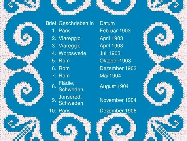 BriefGeschrieben in   Datum   1.Paris            Februar 1903   2.Viareggio        April 1903   3.Viareggio        April 1...