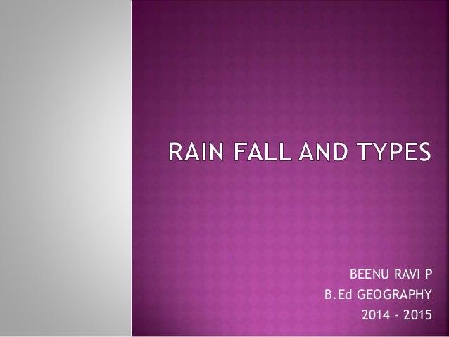 BEENU RAVI P B.Ed GEOGRAPHY 2014 - 2015