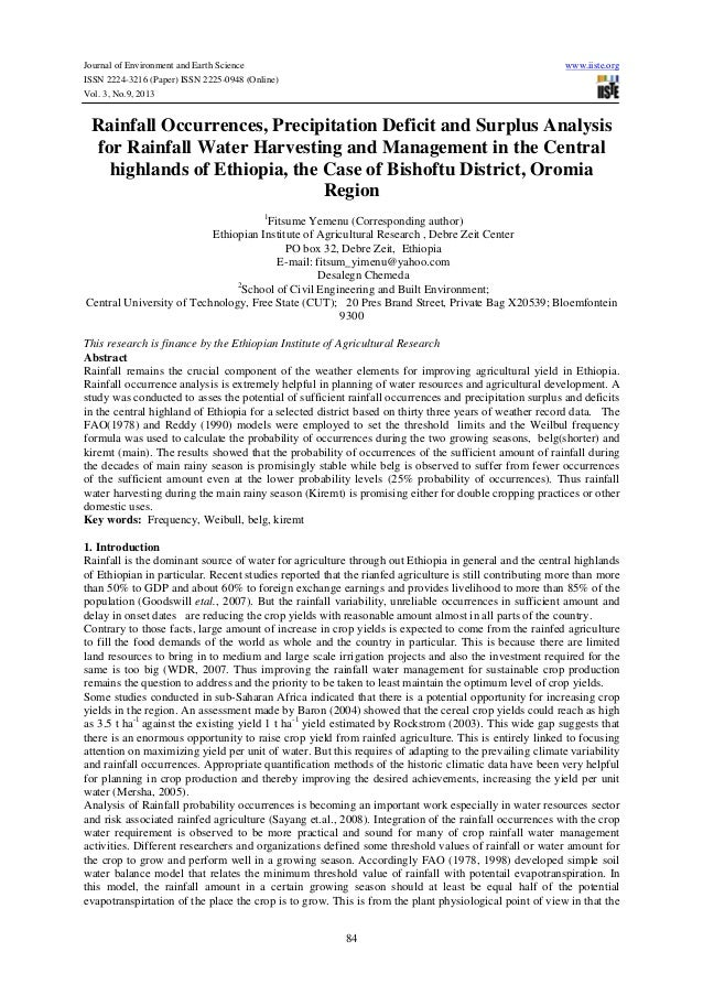 Journal of Environment and Earth Science www.iiste.org ISSN 2224-3216 (Paper) ISSN 2225-0948 (Online) Vol. 3, No.9, 2013 8...
