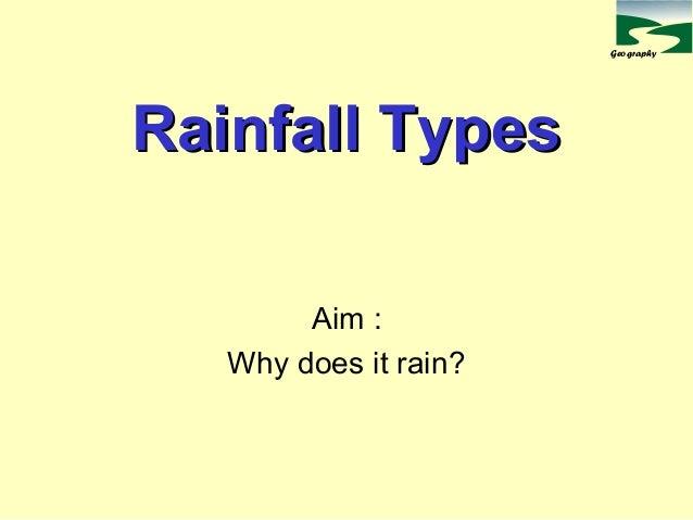Geography Rainfall TypesRainfall Types Aim : Why does it rain?