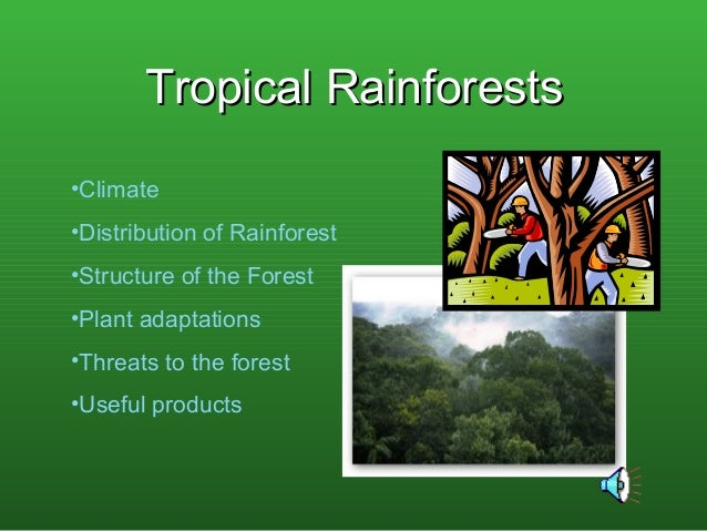 Tropical RainforestsTropical Rainforests •Climate •Distribution of Rainforest •Structure of the Forest •Plant adaptations ...