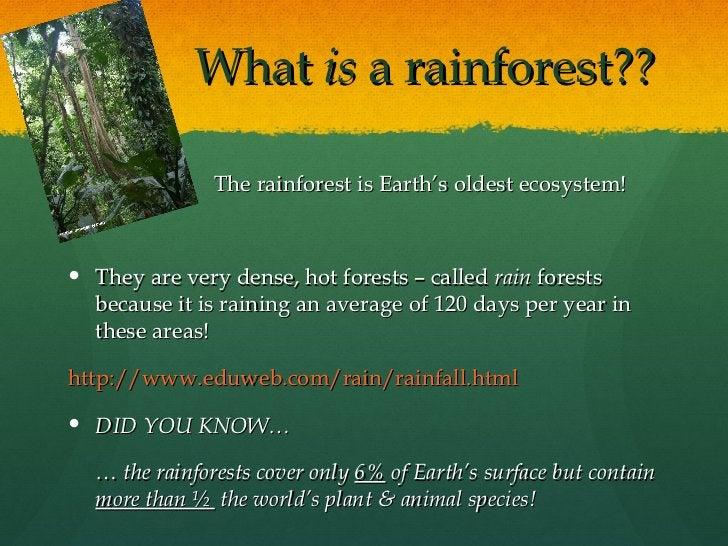 What  is  a rainforest?? <ul><li>The rainforest is Earth's oldest ecosystem! </li></ul><ul><li>They are very dense, hot fo...