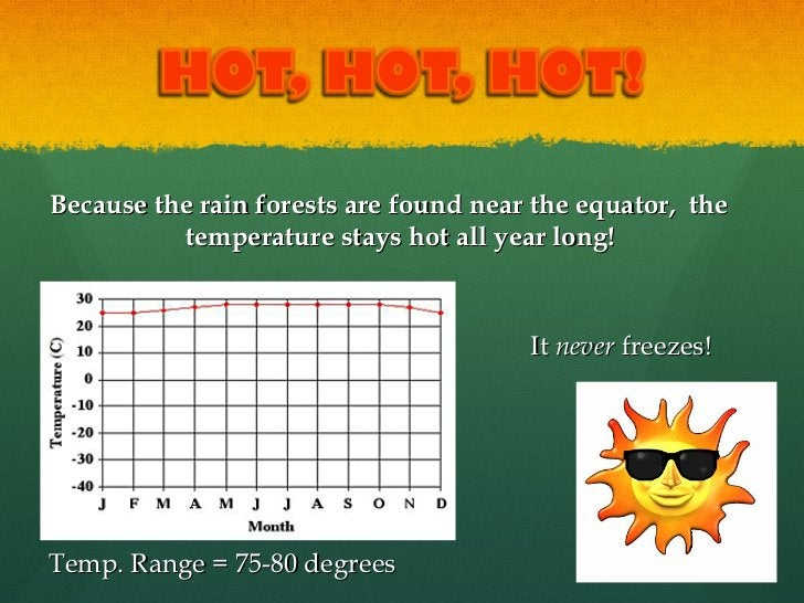 <ul><li>Because the rain forests are found near the equator,  the temperature stays hot all year long!  </li></ul><ul><li>...