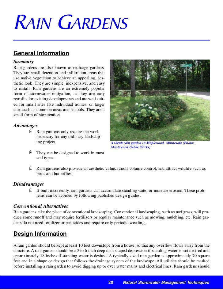 RAIN GARDENSGeneral InformationSummaryRain gardens are also known as recharge gardens.They are small detention and infiltr...