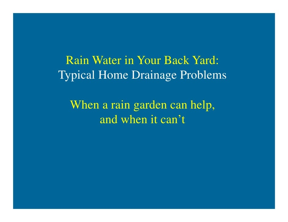 Rain gardens for home drainage help david dods 06 09 12 for Home drainage issues