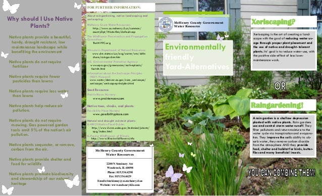 FOR FURTHER INFORMATION:                                      About raingardening, native landscaping andWhy should I Use ...