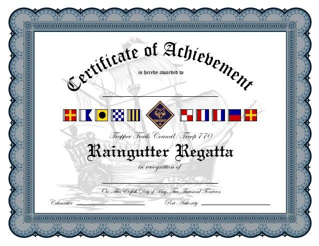 Raingutter regatta certificate for Eagle scout certificate template
