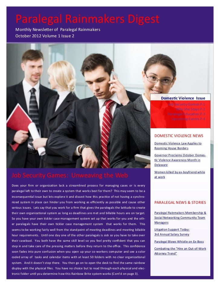Paralegal Rainmakers Digest  Monthly Newsletter of Paralegal Rainmakers  October 2012 Volume 1 Issue 2                    ...