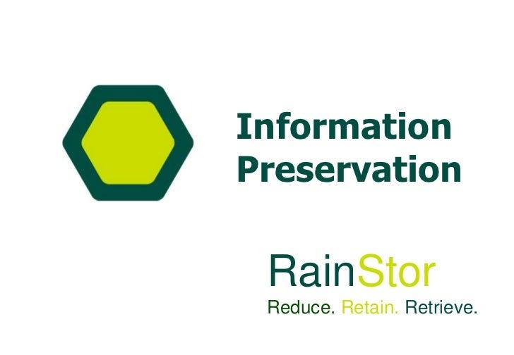 Rain Stor Reduce.  Retain.  Retrieve.