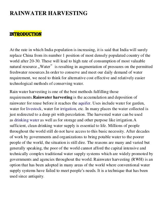 Rainwater Harvesting Rainwater Harvesting Introduction At The Rate In Which India Population Is  Increasing  A Level English Essay also Example Of Thesis Statement In An Essay  The Newspaper Essay
