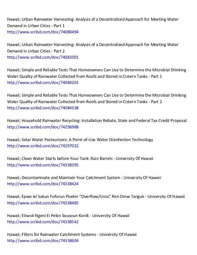 Rain Water Harvesting Manuals