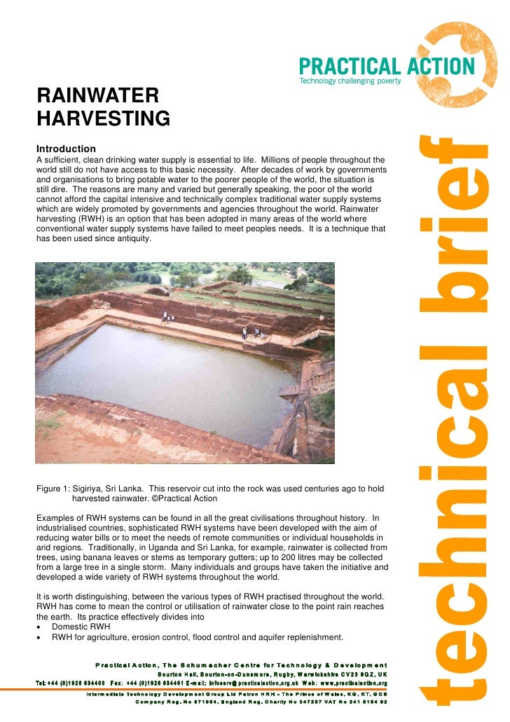 RAINWATERHARVESTINGIntroductionA sufficient, clean drinking water supply is essential to life. Millions of people througho...