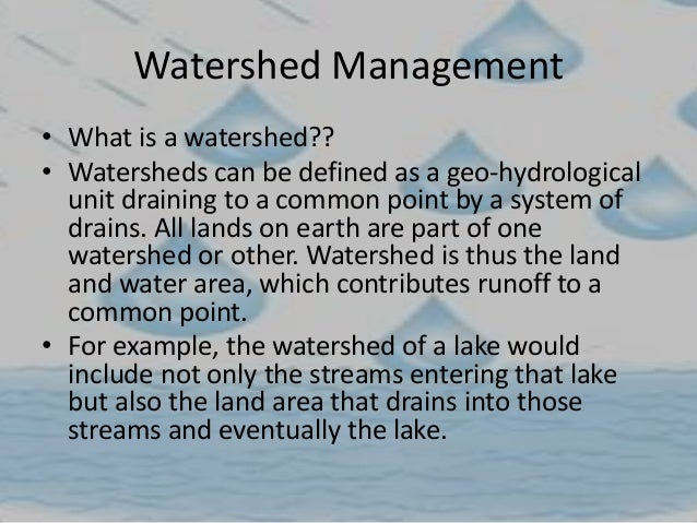 essay on watershed management