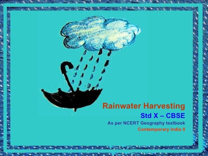 Rainwater Harvesting Cbse