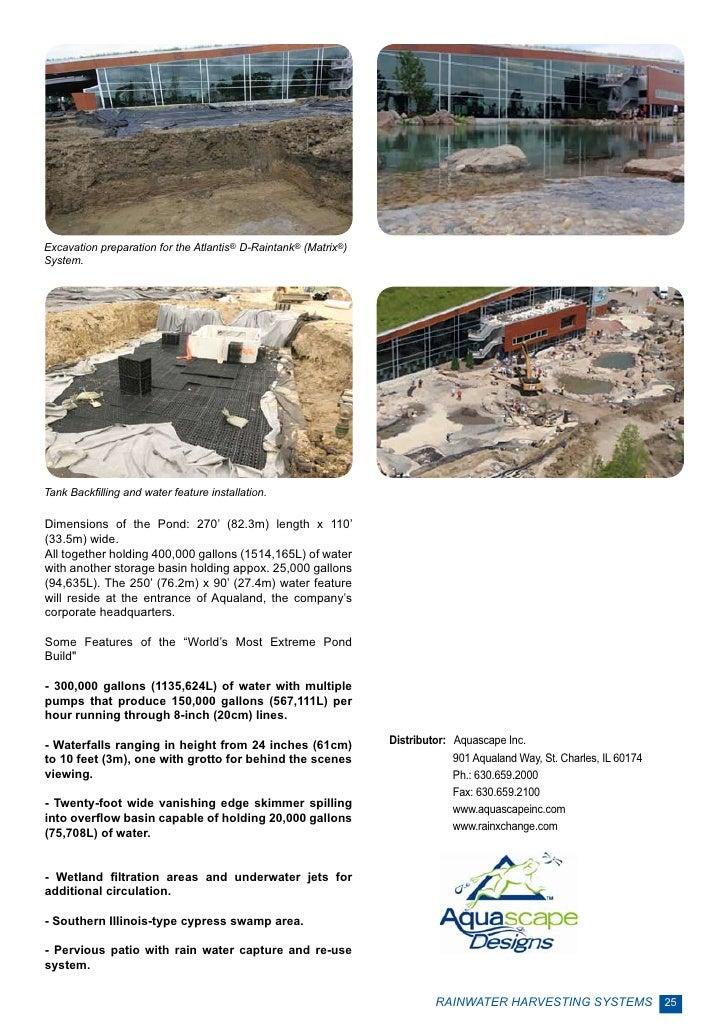 Excavation preparation for the Atlantis® D-Raintank® (Matrix®)System.Tank Backfilling and water feature installation.Dimen...