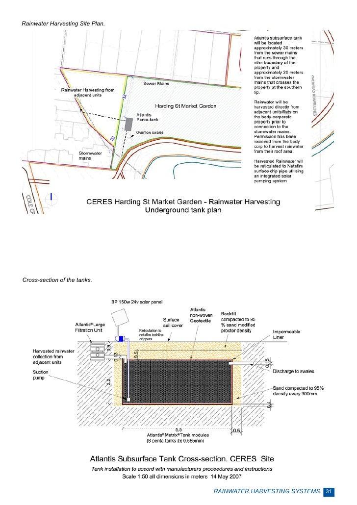 Rainwater Harvesting Site Plan.Cross-section of the tanks.                                  RAINWATER HARVESTING SYSTEMS 31