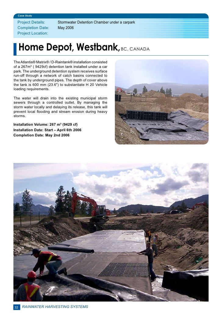 Case Study  Project Details:         Stormwater Detention Chamber under a carpark  Completion Date:         May 2006  Pr...