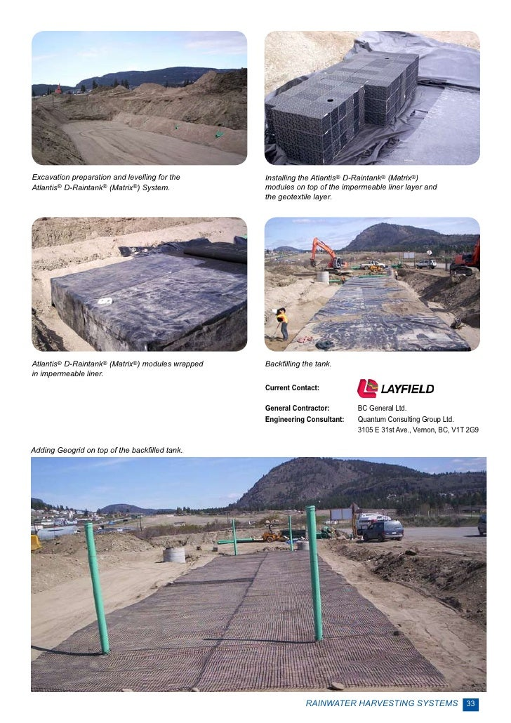 Excavation preparation and levelling for the      Installing the Atlantis® D-Raintank® (Matrix®)Atlantis® D-Raintank® (Mat...