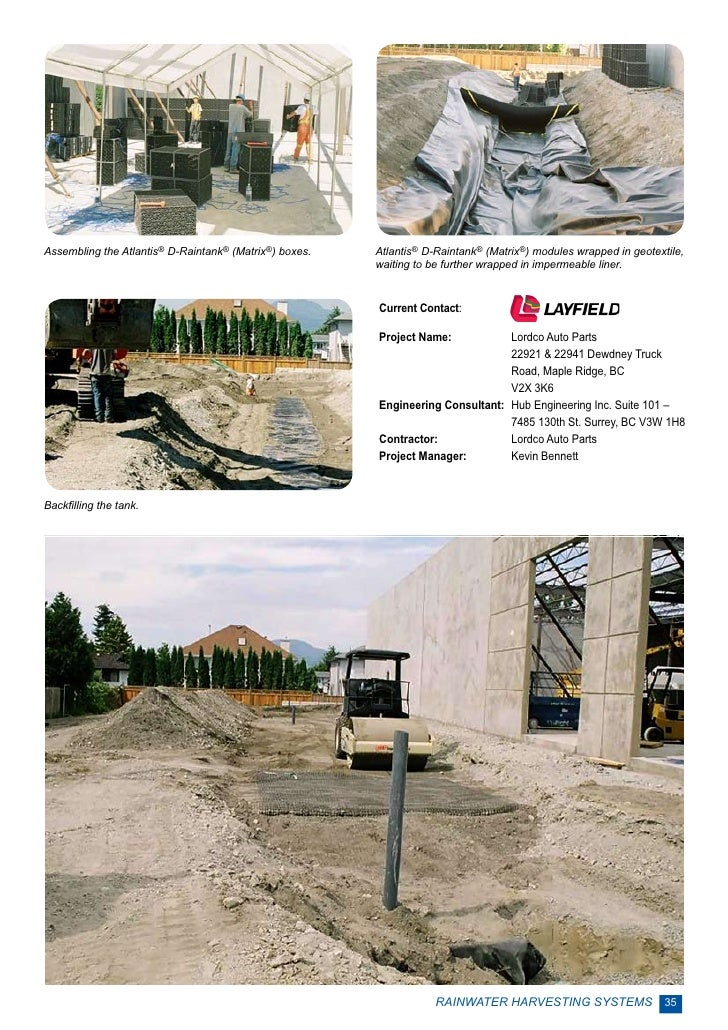 Assembling the Atlantis® D-Raintank® (Matrix®) boxes.   Atlantis® D-Raintank® (Matrix®) modules wrapped in geotextile,    ...