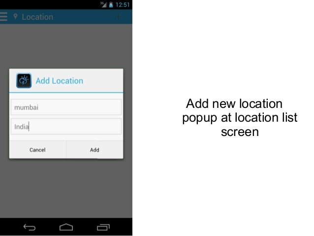 Add new location popup at location list screen