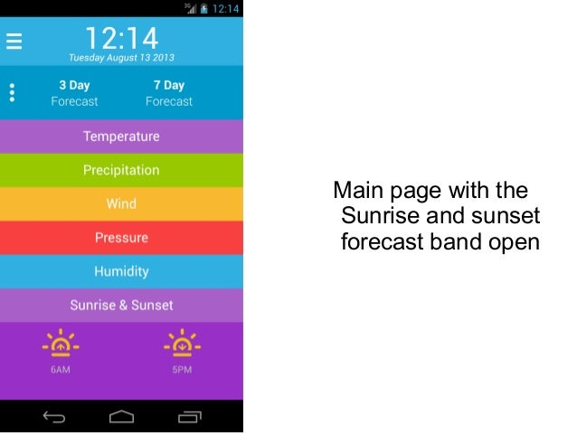 Main page with the Sunrise and sunset forecast band open