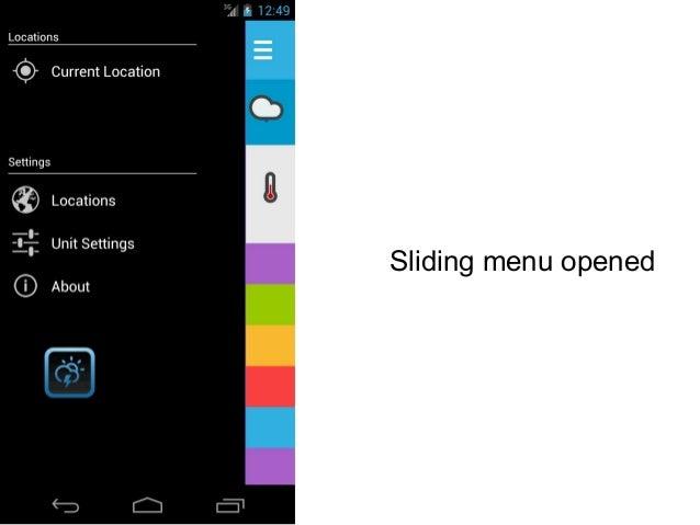 Sliding menu opened