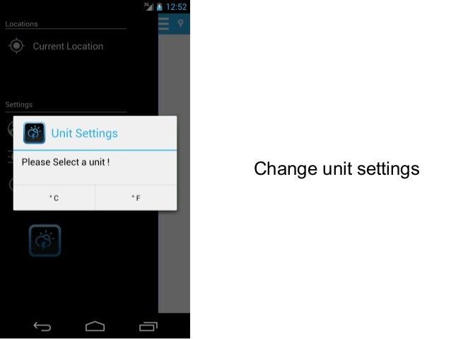 Change unit settings