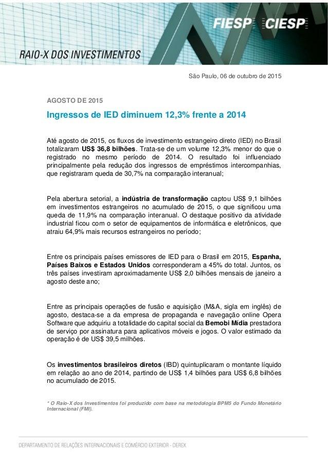 São Paulo, 06 de outubro de 2015 AGOSTO DE 2015 Ingressos de IED diminuem 12,3% frente a 2014 Até agosto de 2015, os fluxo...