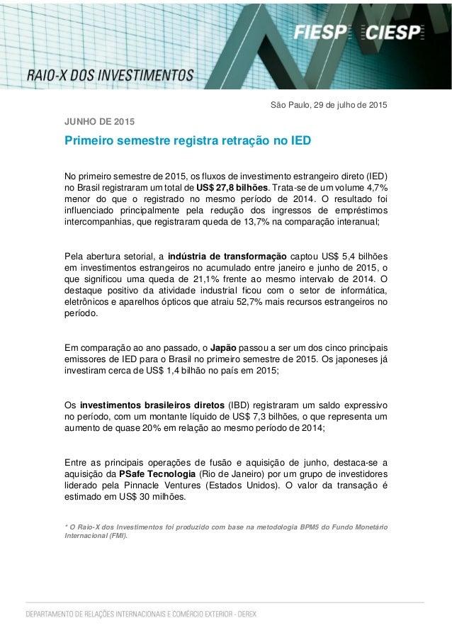 São Paulo, 29 de julho de 2015 JUNHO DE 2015 Primeiro semestre registra retração no IED No primeiro semestre de 2015, os f...