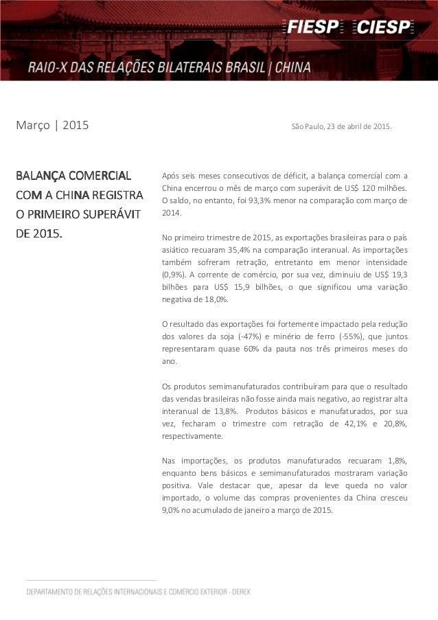Março | 2015 São Paulo, 23 de abril de 2015. BALANÇA COMERCIALBALANÇA COMERCIALBALANÇA COMERCIALBALANÇA COMERCIAL COM A CH...