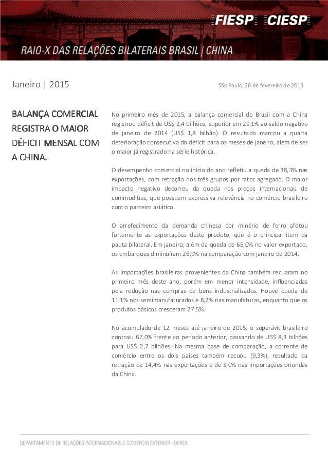 Janeiro | 2015 São Paulo, 26 de fevereiro de 2015. BALANÇA COMEBALANÇA COMEBALANÇA COMEBALANÇA COMERCIALRCIALRCIALRCIAL RE...