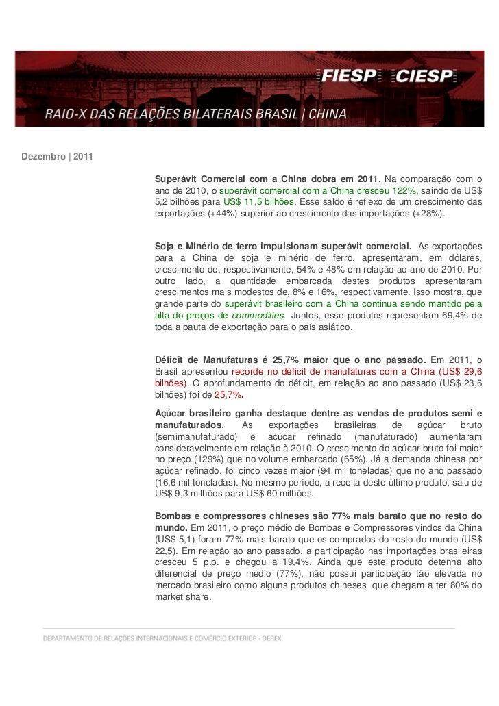 Dezembro | 2011                  Superávit Comercial com a China dobra em 2011. Na comparação com o                  ano d...