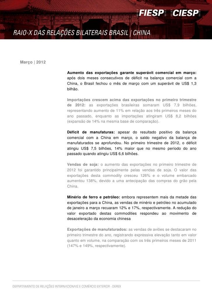 Março   2012               Aumento das exportações garante superávit comercial em março:               após dois meses con...