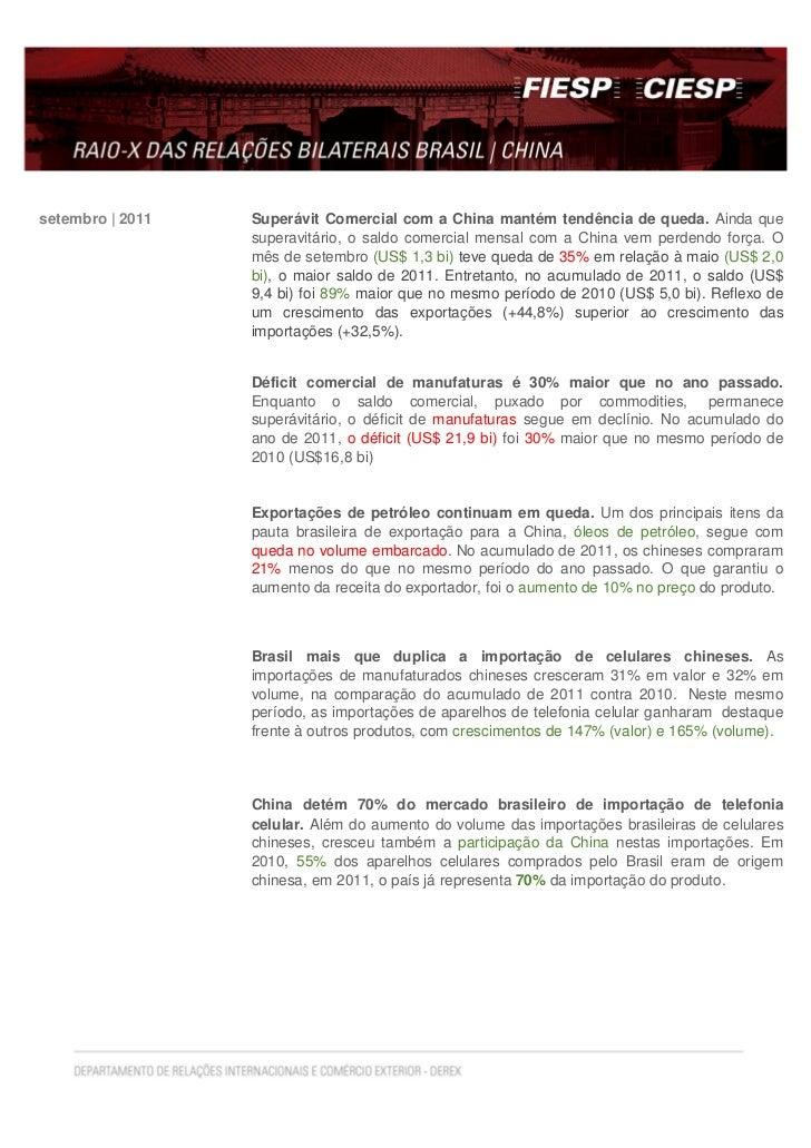 setembro   2011   Superávit Comercial com a China mantém tendência de queda. Ainda que                  superavitário, o s...