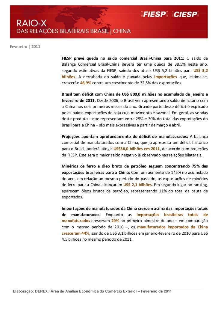 Fevereiro | 2011                           FIESP prevê queda no saldo comercial Brasil-China para 2011: O saldo da        ...