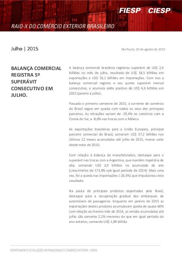 JJJJulhoulhoulhoulho | 2015| 2015| 2015| 2015 São Paulo, 20 de agosto de 2015 BALANÇA COMERCIAL REGISTRA 5º SUPERÁVIT CONS...