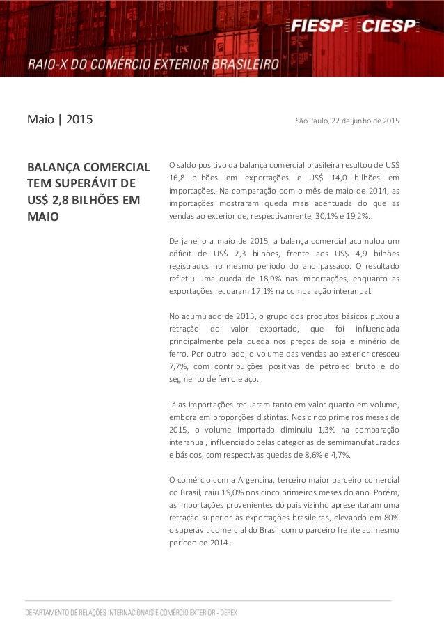 MaioMaioMaioMaio | 2015| 2015| 2015| 2015 São Paulo, 22 de junho de 2015 BALANÇA COMERCIAL TEM SUPERÁVIT DE US$ 2,8 BILHÕE...
