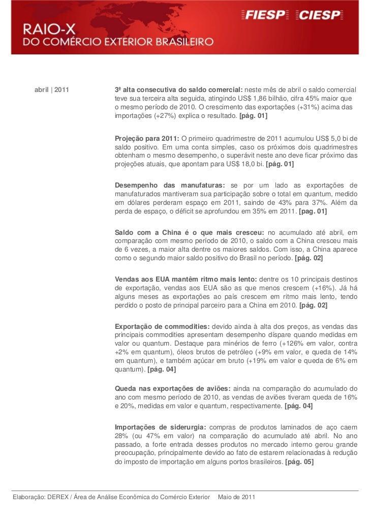 abril | 2011               3ª alta consecutiva do saldo comercial: neste mês de abril o saldo comercial                   ...