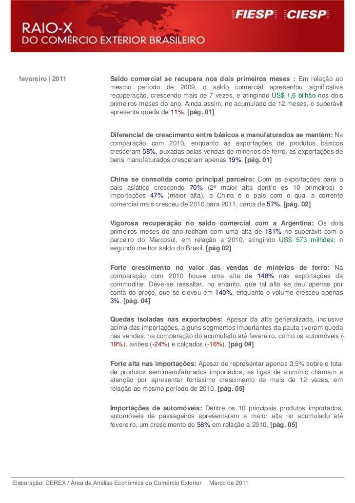 fevereiro | 2011                Saldo comercial se recupera nos dois primeiros meses : Em relação ao                      ...