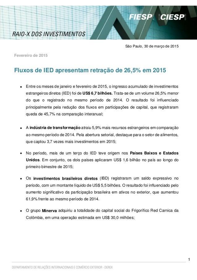 1 São Paulo, 30 de março de 2015 Fevereiro de 2015 Fluxos de IED apresentam retração de 26,5% em 2015  Entre os meses de ...