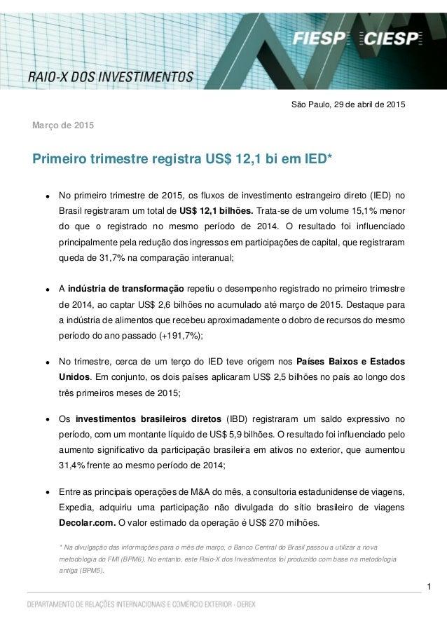 1 São Paulo, 29 de abril de 2015 Março de 2015 Primeiro trimestre registra US$ 12,1 bi em IED*  No primeiro trimestre de ...