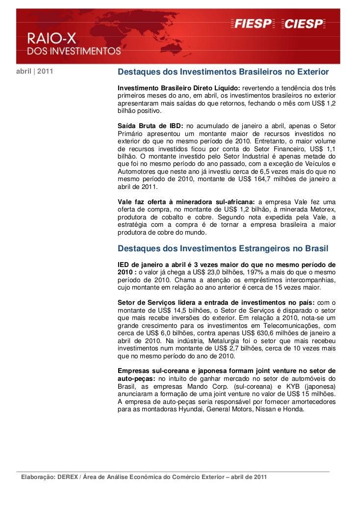abril | 2011                     Destaques dos Investimentos Brasileiros no Exterior                                 Inves...