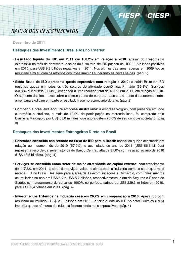 Dezembro de 2011Destaques dos Investimentos Brasileiros no Exterior• Resultado líquido do IBD em 2011 cai 180,2% em relaçã...